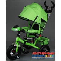 """Трехколесный велосипед  STREET TRIKE (зеленый) фара, амортизатор, надувные колеса 12"""" и 10"""" A03D"""