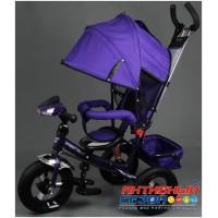 """Трехколесный велосипед  STREET TRIKE (фиолетовый) фара, амортизатор, надувные колеса 12"""" и 10"""" A03D"""