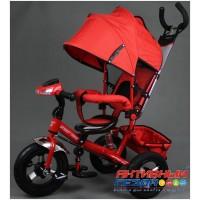 """Трехколесный велосипед  STREET TRIKE (красный) фара, амортизатор, надувные колеса 12"""" и 10"""" A03D"""