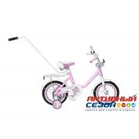 """Детский велосипед Black Aqua Princess 12"""" с ручкой, со светящимися колесами (розово-сиреневый; розово-белый)"""