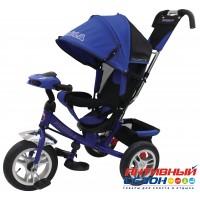 """Трехколесный велосипед FORMULA 3 (синий) фара свет, звук, надувные колеса 12"""" и 10"""" (FA3B)"""