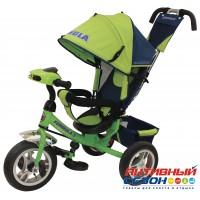"""Трехколесный велосипед FORMULA 3 (зеленый) фара свет, звук, надувные колеса 12"""" и 10"""" (FA3G)"""