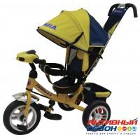 """Трехколесный велосипед FORMULA 3 (желтый) фара свет, звук, надувные колеса 12"""" и 10"""" (FA3Y)"""