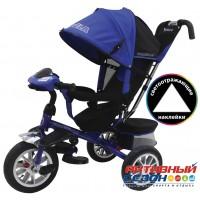 """Трехколесный велосипед FORMULA 4 (синий) поворотное сидение, фара свет, звук, надувные колеса 12"""" и 10"""" (FA4B)"""