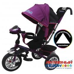 """Трехколесный велосипед FORMULA 4 (фиолетовый) поворотное сидение, фара свет, звук, надувные колеса 12"""" и 10"""" (FA4V)"""