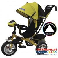 """Трехколесный велосипед FORMULA 4 (желтый) поворотное сидение, фара свет, звук, надувные колеса 12"""" и 10"""" (FA4Y)"""