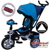 """Трехколесный велосипед FORMULA 5 (голубой) поворотное сидение, фара свет, звук, надувные колеса 12"""" и 10"""" (FA5B)"""