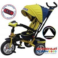 """Трехколесный велосипед FORMULA 5 (желтый) поворотное сидение, фара свет, звук, надувные колеса 12"""" и 10"""" (FA5Y)"""