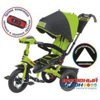 """Трехколесный велосипед SUPER FORMULA (зеленый) поворотное сидение, фара свет, звук, свободный ход колеса, надувные колеса 12"""" и 10"""""""