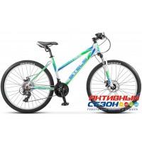 "Велосипед Stels Miss 5100 MD (V030) (2017) (26"" 21 скор.) (Р-р = 15""; 17"", Цвет: Белый/Зеленый) Рама Алюминий"