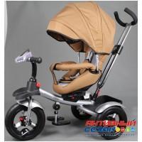 """Трехколесный велосипед  STREET TRIKE, фара свет, звук, поворотное сидение, надувные колеса 12"""" и 10"""" (бежевый)"""