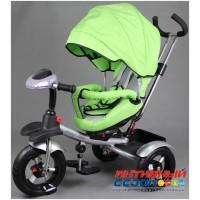 """Трехколесный велосипед  STREET TRIKE, фара свет, звук, поворотное сидение, надувные колеса 12"""" и 10"""" (зеленый)"""