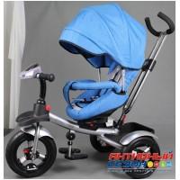 """Трехколесный велосипед  STREET TRIKE, фара свет, звук, поворотное сидение, надувные колеса 12"""" и 10"""" (синий)"""