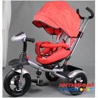 """Трехколесный велосипед  STREET TRIKE, фара свет, звук, поворотное сидение, надувные колеса 12"""" и 10"""" (красный)"""