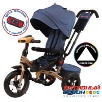 """Трехколесный велосипед SUPER FORMULA (джинс) поворотное сидение, фара свет, звук, свободный ход колеса, надувные колеса 12"""" и 10"""""""