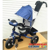 """Трехколесный велосипед Turbo Trike (синий) надувные колеса 12""""/10"""", фара со светом, звуком"""