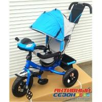 """Трехколесный велосипед Turbo Trike (голубой) надувные колеса 12""""/10"""", фара со светом, звуком"""