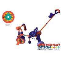 """Трехколесный велосипед """"Чижик"""" (оранжево-голубой) с родительской  ручкой, фара на руле, пластиковые колеса 10"""" и 8"""""""