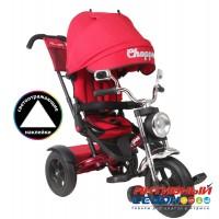 """Трехколесный велосипед Chopper Trike поворотное сидение, фара свет, звук, надувные колеса 12"""" и 10"""" (красный)"""