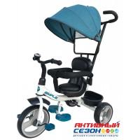 Трехколесный велосипед Simple с ручкой управления, поворот.сиденье, пластик.колеса 10' и 8' Зеленый и Серый