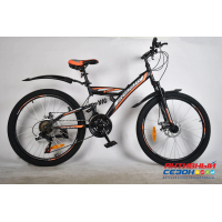 """Велосипед Rook TS240D (24"""" 21 скор.) (Цвет: черный/оранжевый) Рама сталь"""