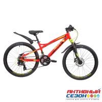 """Велосипед NOVATRACK TORNADO DISC (24"""" 21 скор.) (Р-р= 13, Цвет: Красный) Рама Алюминий"""