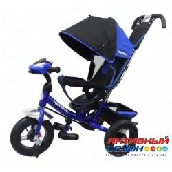 """Трехколесный велосипед SAFARI TRIKE Car надувные колеса 12""""/10"""", фара со светом, звуком (синий)"""