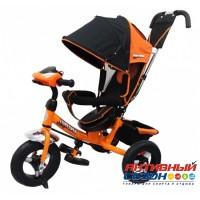 """Трехколесный велосипед SAFARI TRIKE Car надувные колеса 12""""/10"""", фара со светом, звуком (оранжевый)"""