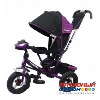 """Трехколесный велосипед SAFARI TRIKE Car надувные колеса 12""""/10"""", фара со светом, звуком (фиолетовый)"""