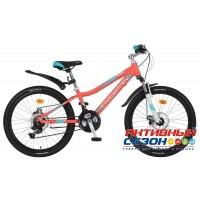 """Велосипед Novatrack Novara (24"""" 18 скор.) (Р-р = 13"""", Цвет: Коралловый) Рама Алюминий"""