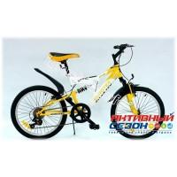 "Велосипед EUROTEX COYOTE (20"" 6 скор.) (Цвет: Бело-Желтый) Рама Сталь"