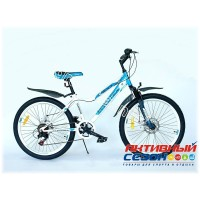 "Велосипед EUROTEX GEO (24"" 18 скор.) (Цвет: Бело-Синий) Рама Сталь"