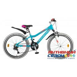 "Велосипед Novatrack Novara (24"" 18 скор.) (Р-р = 12"", Цвет: Аквамарин) Рама Алюминий"