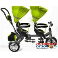 """Трехколесный велосипед для двойни (TWINS), надувные колеса 12"""" и 10"""" (зеленый)"""