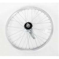 """Колесо 20"""" заднее(без резины), одинарный алюм.обод 28 отв, торм.втулка сталь, гайка для велосипедa"""