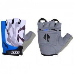 Перчатки STG летние быстросъемные с защитной прокладкой, застежка на липучке, материал-кожа+лайкра синие (L, XL)