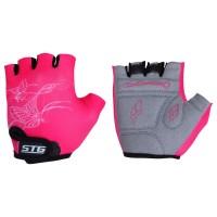 Перчатки детские летние быстросъемные STG для велосипедa, розовые (S, XS)