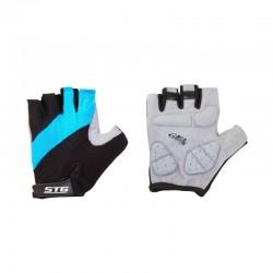 Перчатки летние быстросъемные STG с защитной гелевой прокладкой для велосипедa, черно-голубые (S, M, L, XL)