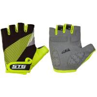Перчатки STG летние с защитной прокладкой, застежка на липучке (черный-салатовый)