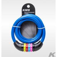 """Велозамок """"KMS"""", трос диаметр 12*1500мм, с цветным сменным кодом, 6 цветов (голуб, зелен, фиол, розов, син, черн), модель 2016 года"""