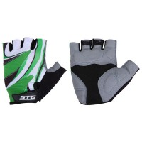 "Перчатки летние с ""дышащей"" системой вентиляции,застежка на липучке,материал-кожа+лайкра,размер L,зеленые"