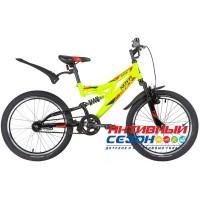 """Велосипед NOVATRACK SHARK (20"""" 1 скор) (Цвет: Черный, салатовый ) Рама Сталь"""