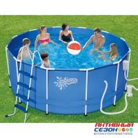 Каркасный бассейн Summer Escapes (366х132см) + фильтр-насос, лестница, настил, тент, набор для чиски DELUXE, скиммер