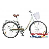 """Велосипед NOVATRACK LADY VINTAGE + передняя корзина (28"""" 1 скор.) (Цвет: Зеленый) Рама Сталь"""
