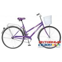 """Велосипед NOVATRACK LADY FIESTA + передняя корзина (28"""" 1 скор.) (Цвет: фиолетовый; красный) Рама Сталь"""