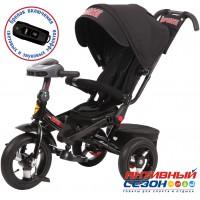 """Трехколесный велосипед SUPER FORMULA (черный) поворотное сидение, фара свет, звук, свободный ход колеса, надувные колеса 12"""" и 10"""""""