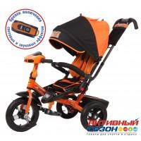 """Трехколесный велосипед SUPER FORMULA (оранжевый) поворотное сидение, фара свет, звук, свободный ход колеса, надувные колеса 12"""" и 10"""""""