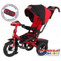 """Трехколесный велосипед SUPER FORMULA (красный) поворотное сидение, фара свет, звук, свободный ход колеса, надувные колеса 12"""" и 10"""""""