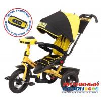 """Трехколесный велосипед SUPER FORMULA (желтый) поворотное сидение, фара свет, звук, свободный ход колеса, надувные колеса 12"""" и 10"""""""