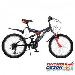 """Велосипед NOVATRACK TITANIUM (20"""" 12 скор.) (Серый; Красный) Рама Сталь"""